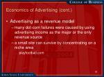 economics of advertising cont