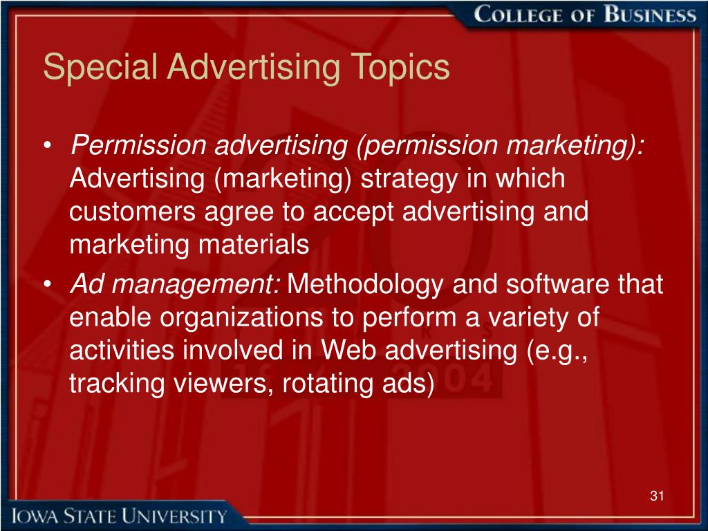 Special Advertising Topics