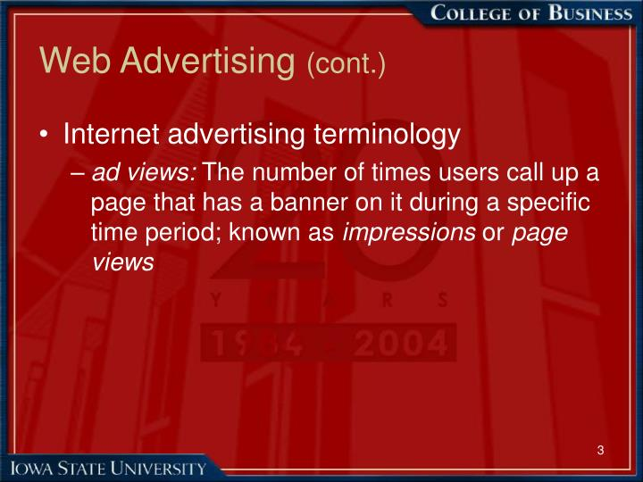 Web advertising cont