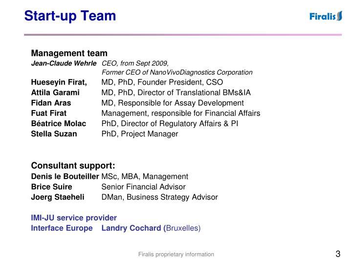 Start up team