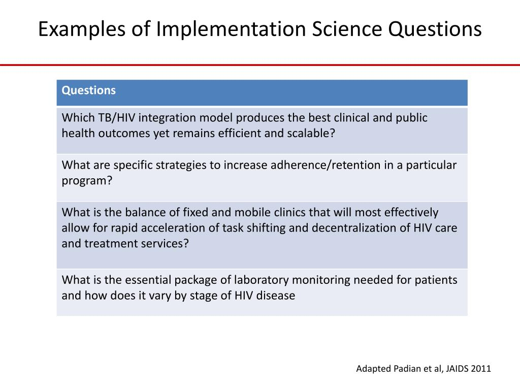 Examples of Implementation Science Questions