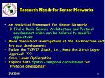 research needs for sensor networks