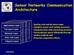 sensor networks communication architecture