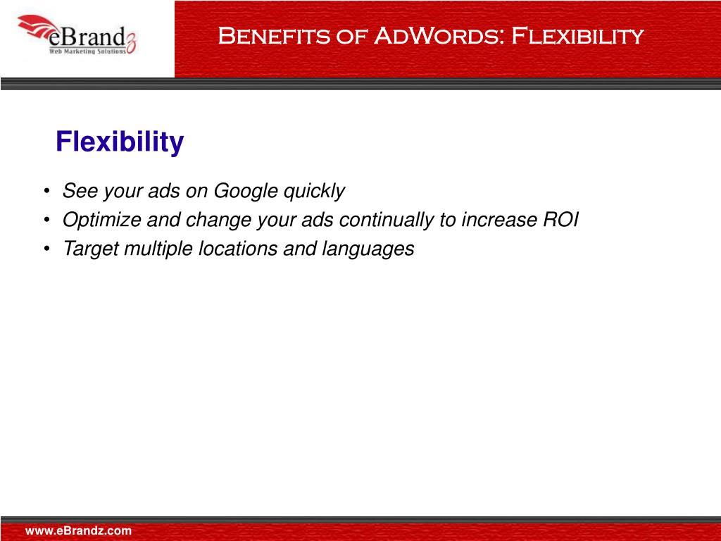 Benefits of AdWords: Flexibility