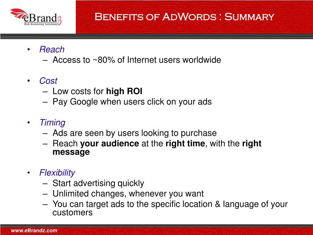 Benefits of AdWords : Summary