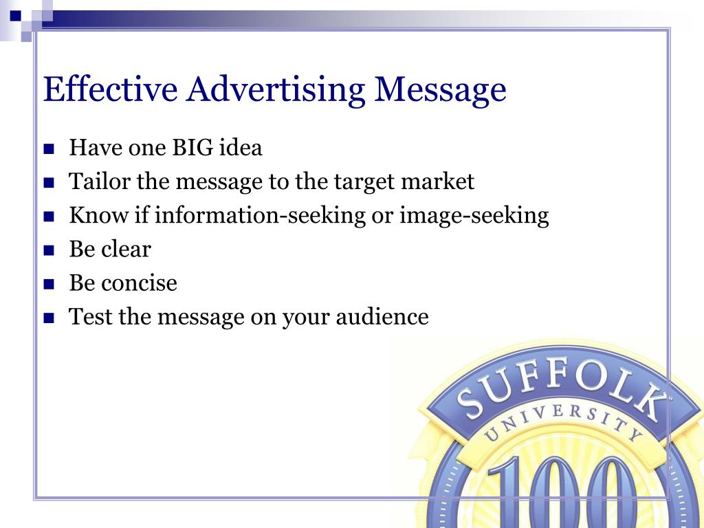 Effective Advertising Message