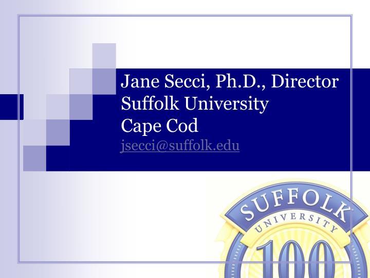 Jane secci ph d director suffolk university cape cod jsecci@suffolk edu