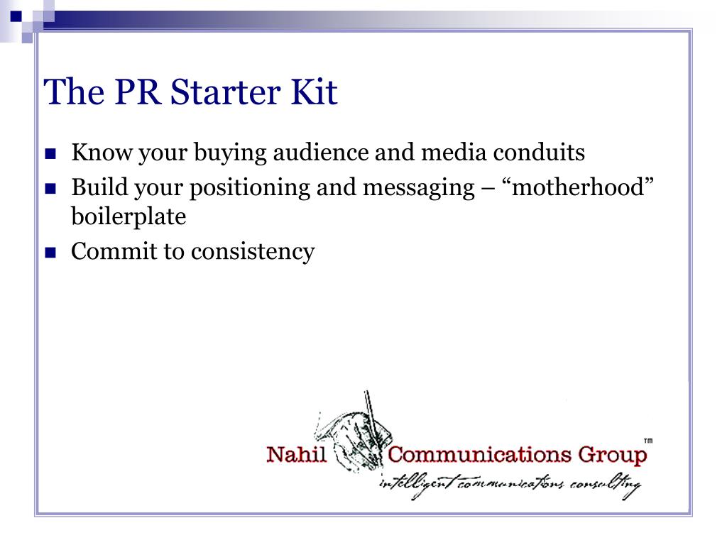 The PR Starter Kit