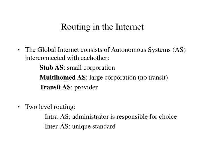 routing in the internet n.