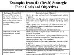 examples from the draft strategic plan goals and objectives