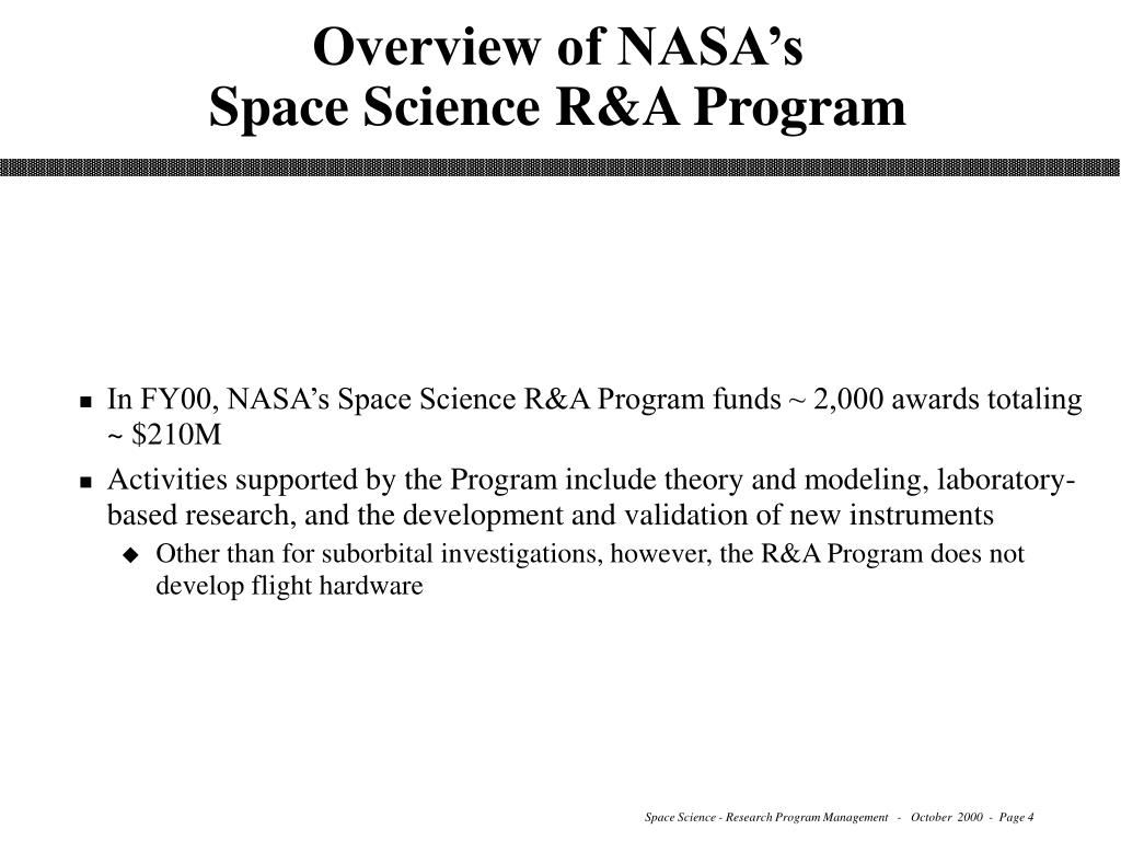 Overview of NASA's