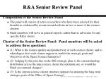 r a senior review panel