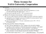 three avenues for nasa university cooperation