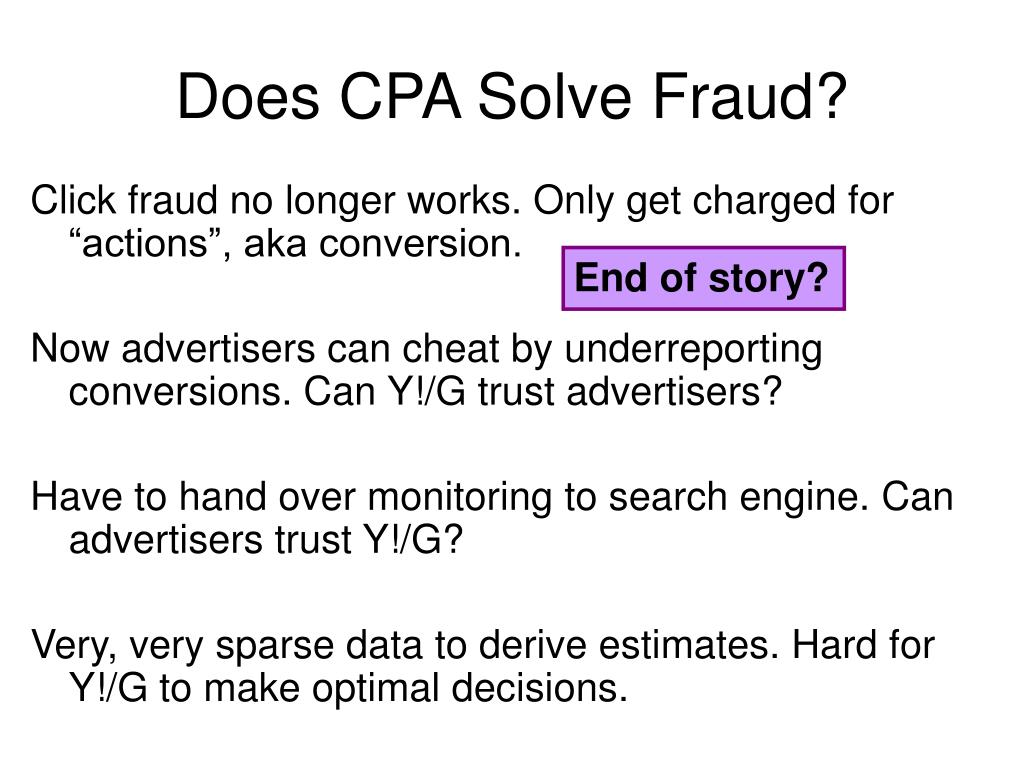Does CPA Solve Fraud?