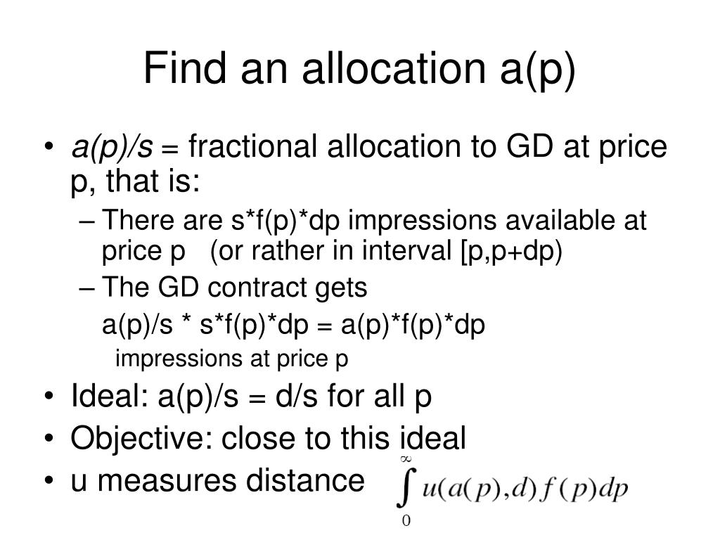 Find an allocation a(p)
