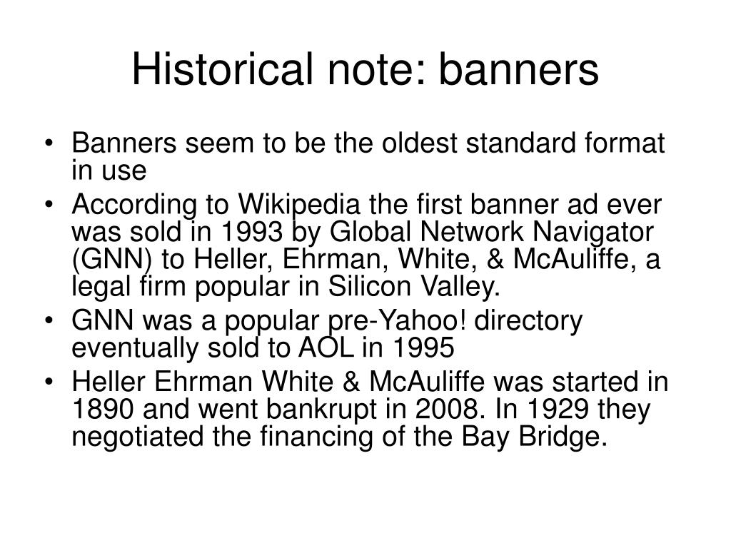 Historical note: banners