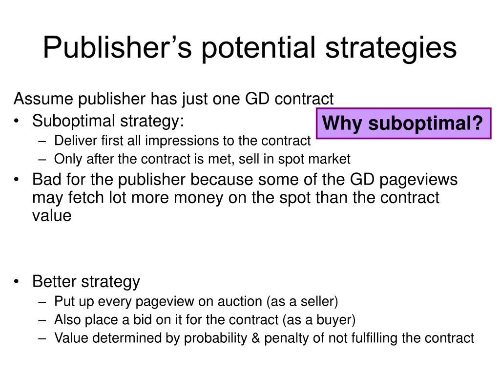 Publisher's potential strategies