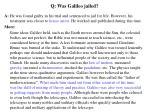 q was galileo jailed