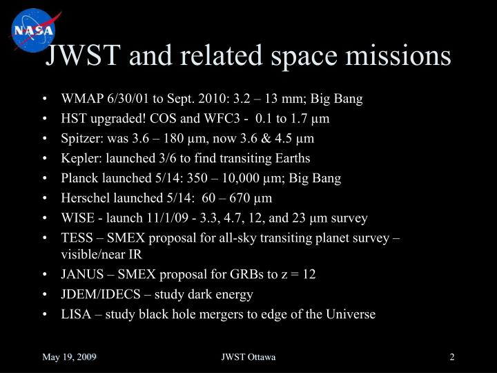 Jwst and related space missions