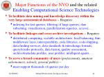 major functions of the nvo and the related enabling computational science technologies