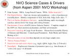 nvo science cases drivers from aspen 2001 nvo workshop