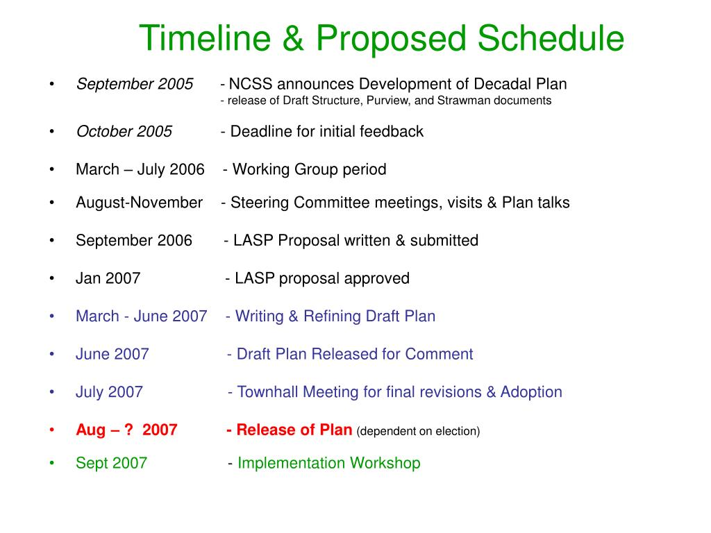 Timeline & Proposed Schedule
