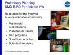 preliminary planning smd e po portfolio for iya9
