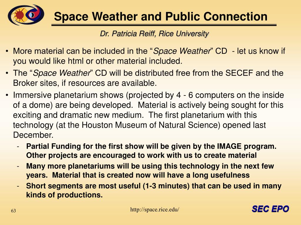 Space Weather and Public Connection