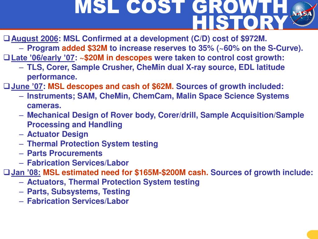 MSL COST GROWTH HISTORY