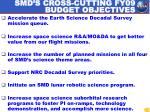 smd s cross cutting fy09 budget objectives