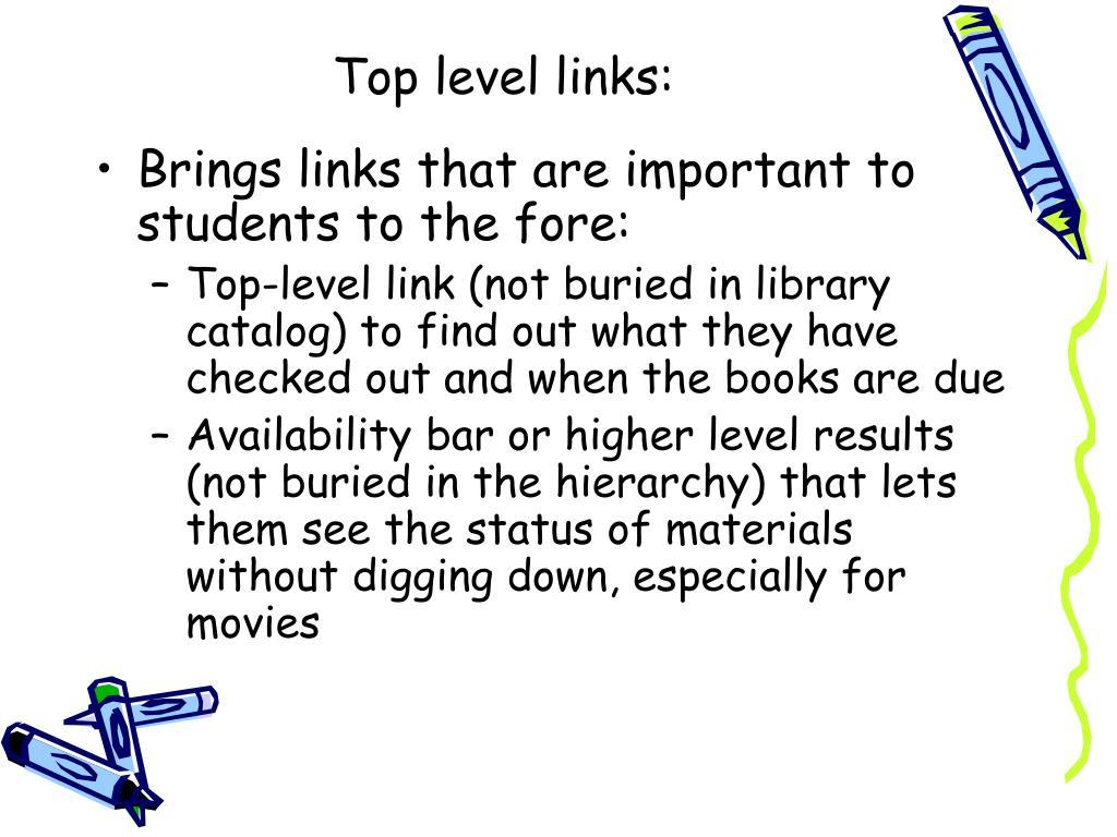 Top level links: