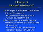 a history of microsoft windows nt