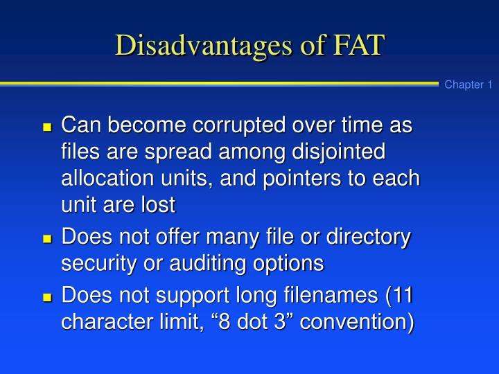Disadvantages of FAT