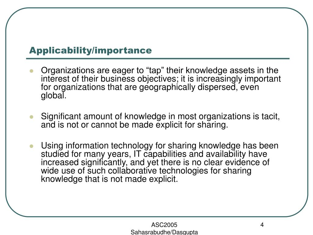Applicability/importance