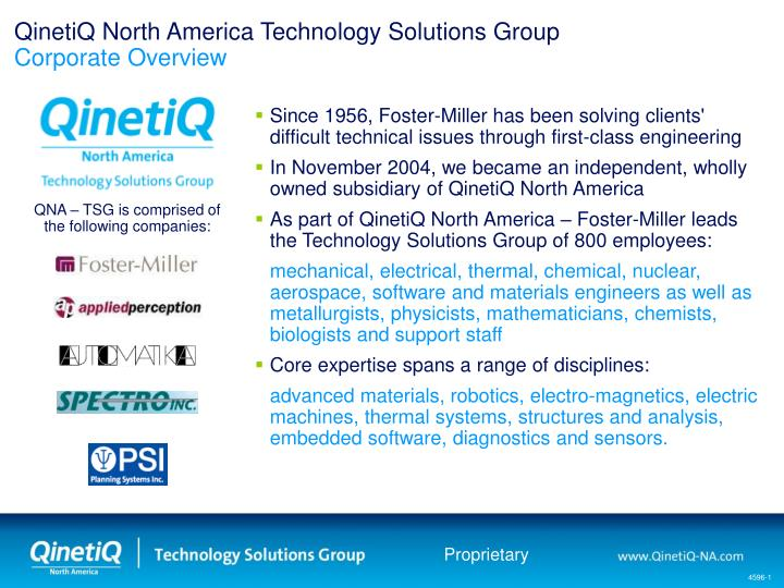 qinetiq north america technology solutions group corporate overview n.