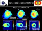 equatorial ion distributions