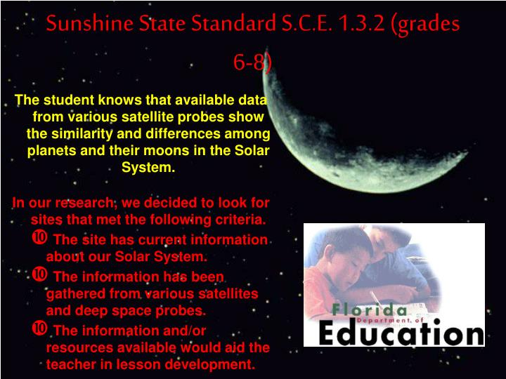 Sunshine state standard s c e 1 3 2 grades 6 8