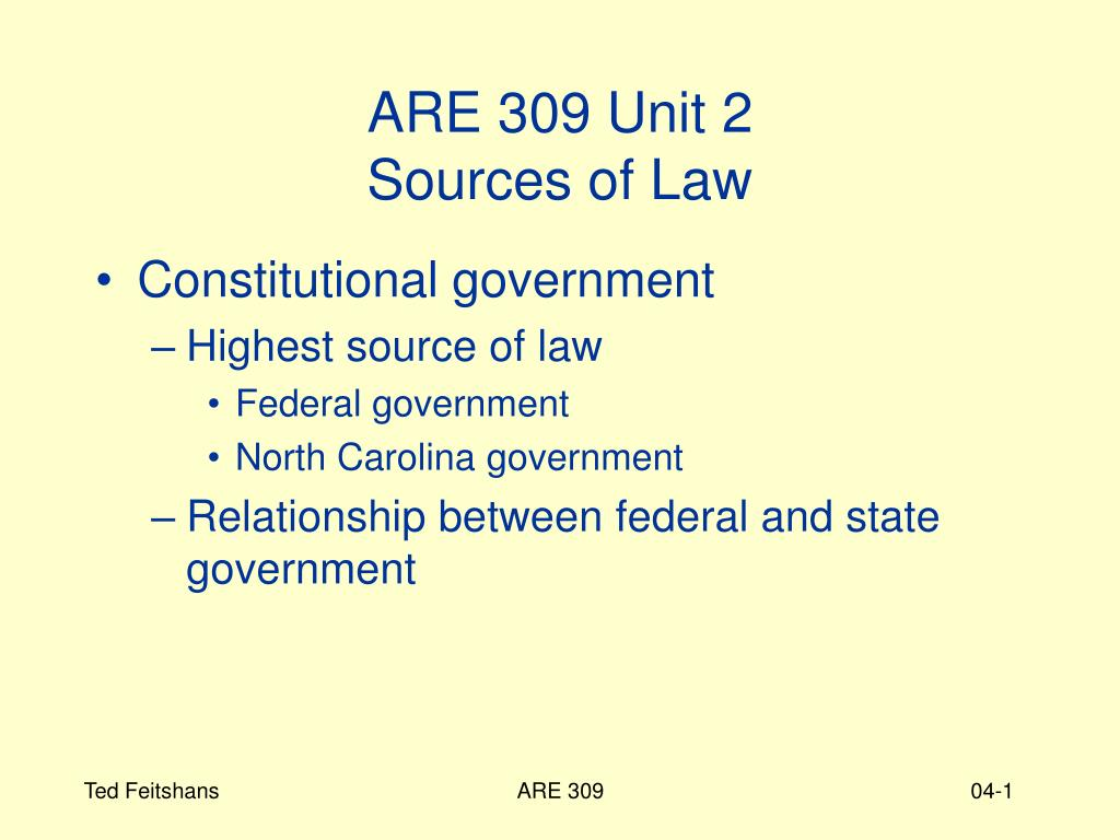are 309 unit 2 sources of law