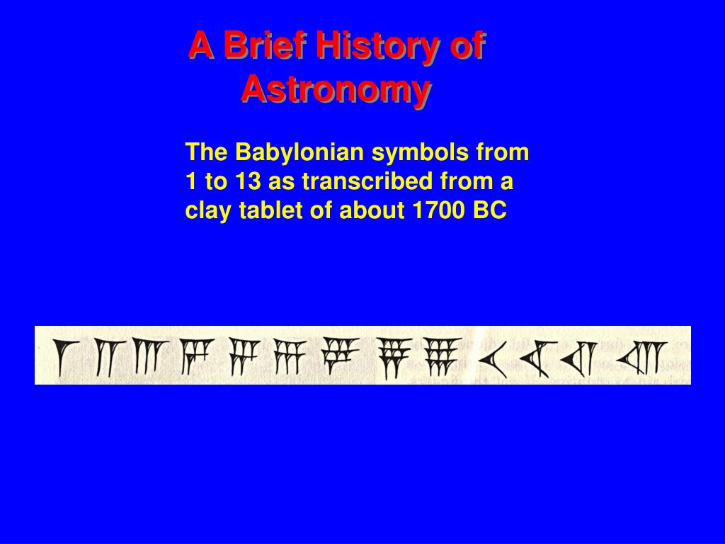 The Babylonian symbols from  1 to 13 as transcribed from a clay tablet of about 1700 BC