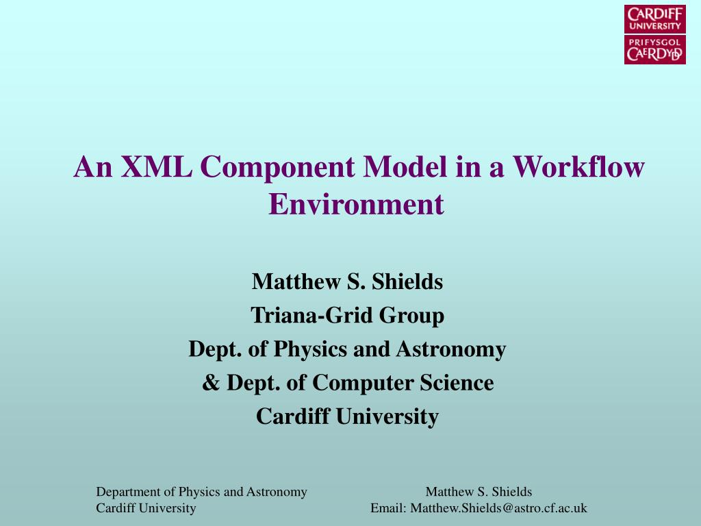 an xml component model in a workflow environment l.