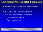 assessment process after formation