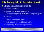 disclosing info to investors cont