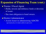 expansion of financing team cont