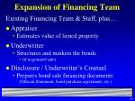 expansion of financing team