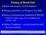 timing of bond sale