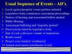 usual sequence of events ad s