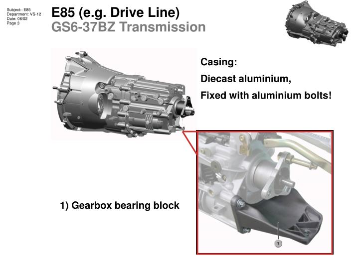 E85 e g drive line gs6 37bz transmission