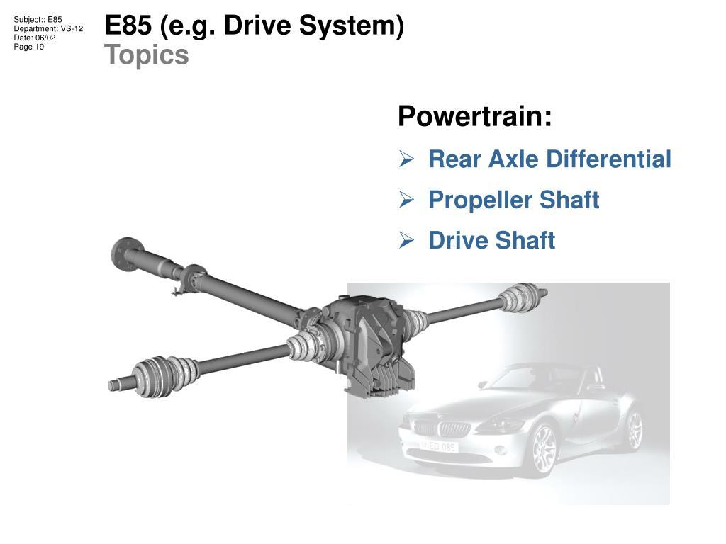 E85 (e.g. Drive System)