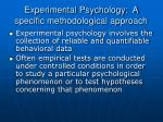 experimental psychology a specific methodological approach