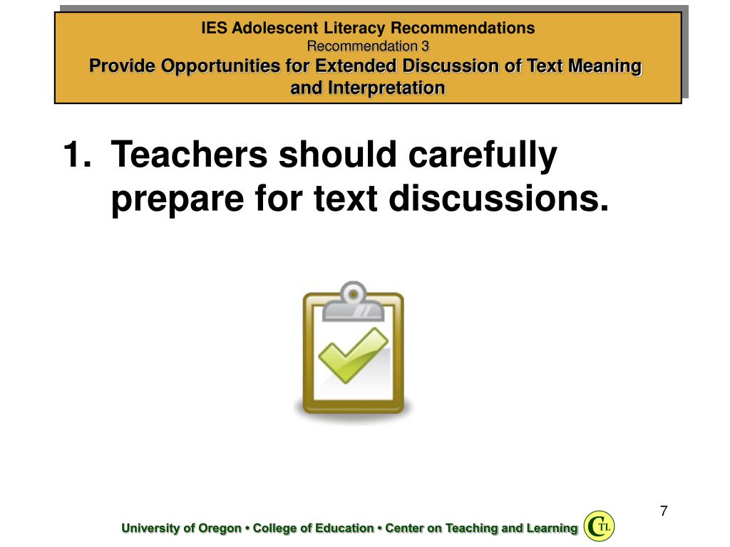 Teachers should carefully prepare for text discussions.
